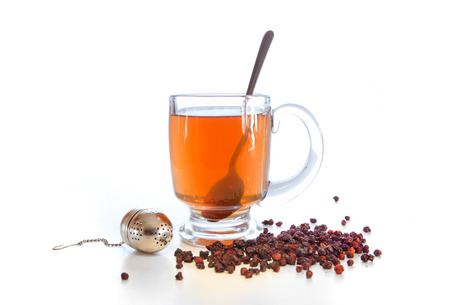 adaptogen: Schizandra tea with dried berries  Stock Photo