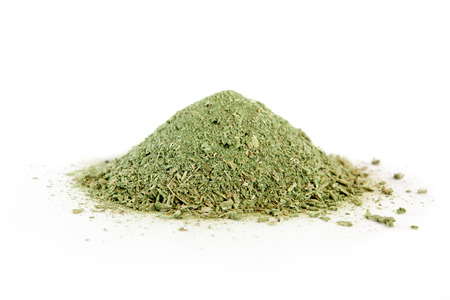 Dried comfrey herb on white. Genus Symphytum, family Boraginaceae
