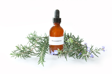 Bottle of rosemary extract with sprigs of the herb, Rosmarinus officinalis Stock fotó