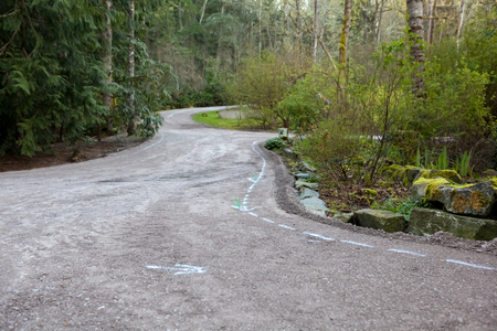 compacted: Residential driveway prepared with crushed rock base for paving with asphalt