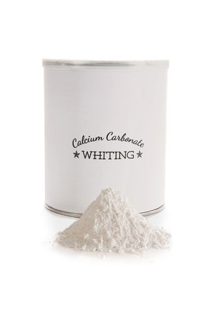 hardness: Calcium carbonate whiting is a flux used in pottery glazes to improve durability and hardness. CaCO3. Label made for the photo shoot, no copyright infringement issues.