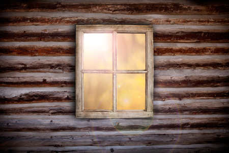 wooden window: Morning light through cabin window background