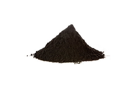 Black iron oxide, magnetite, is used as black pigment, a catalyst, and used by the pharmaceutical industry in a preparation against anemia. Fe3O4 Banco de Imagens - 61476104
