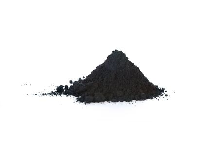 Graphite powder is generally used as lubricant. Isolated on white.