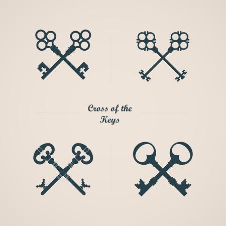 llaves: Icono de llave. Cruce de las llaves. Siluetas de tecla. Etiqueta con llave. Tecla del logotipo Vectores
