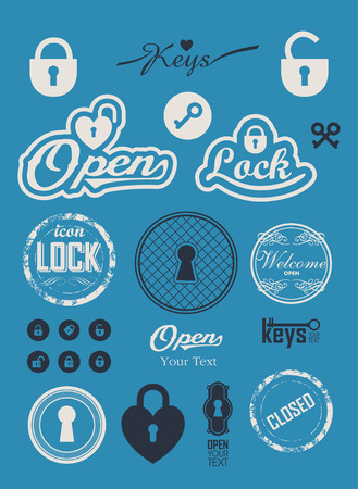 locks: Vintage set lock icons. Labels with keys and locks. Sign open closed. A simple silhouette of the lock for the door. Key logo. Illustration