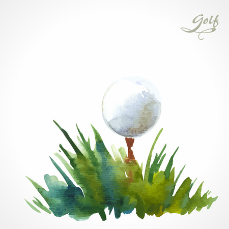 golf clubs: Watercolor illustration on the theme of golf. Ball in the grass
