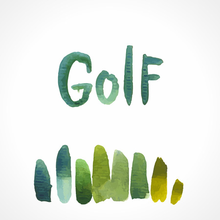 Watercolor illustration on the theme of golf. Green grass