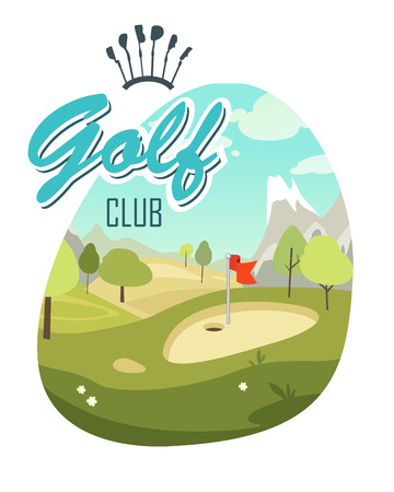 course: The poster on the theme of the game of golf in a cartoon style with a landscape golf course