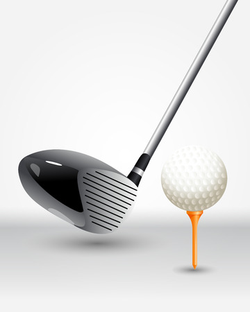 iron fun: The poster on the theme of golf with realistic ball and sticks to play
