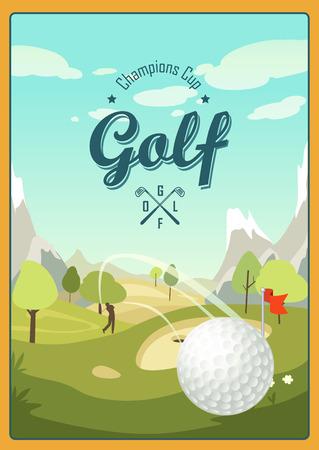 balones deportivos: El cartel en el tema del juego de golf en un estilo de dibujos animados con un campo de golf paisaje Vectores