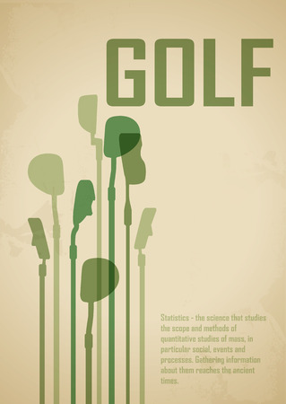 golf green: The poster on the theme of golf with  sticks to play