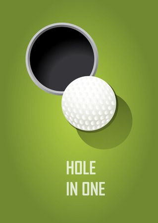 The poster on the theme of golf with realistic ball Çizim