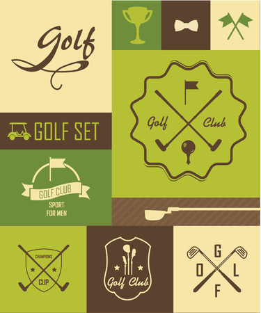 putter: Infographics. Signs and symbols dedicated to the game of golf Illustration