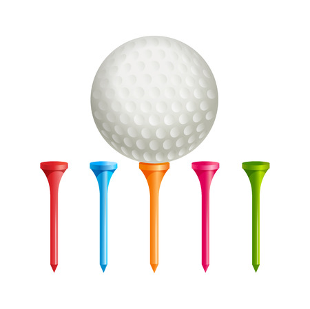 golf field: Realistic golf ball on supports of different colors Illustration