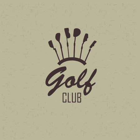 golf swing: Simple logo golf. Siluyut clubs for the game Illustration