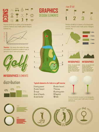 Infographics. Signs and symbols dedicated to the game of golf Illustration