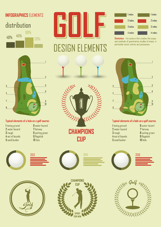 golf bag: Infographics. Signs and symbols dedicated to the game of golf Illustration