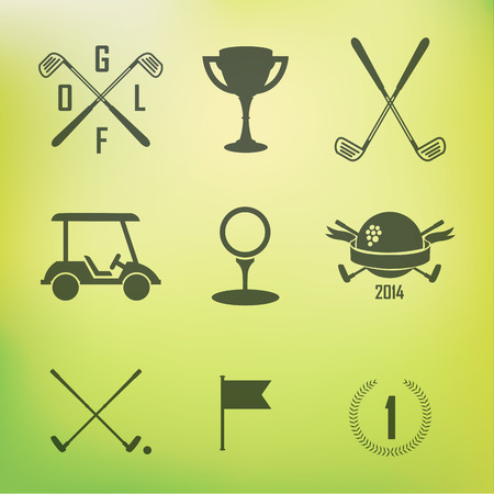 golf swings: Icons and Emblems golf on a green background Illustration
