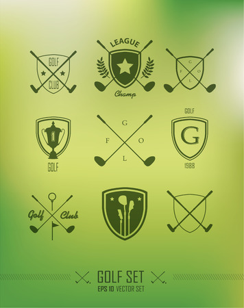 hole in one: Icons and Emblems golf on a green background Illustration