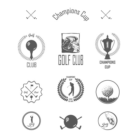 golf swing: Icons and Emblems golf on a grey background Illustration