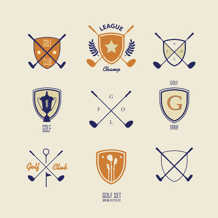 putter: Icons and Emblems golf on a light background