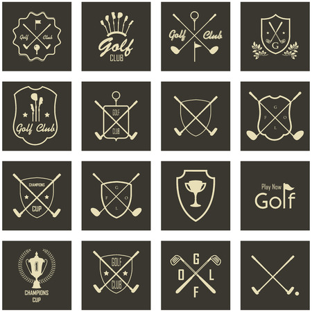 putter: Icons and Emblems golf on a black background
