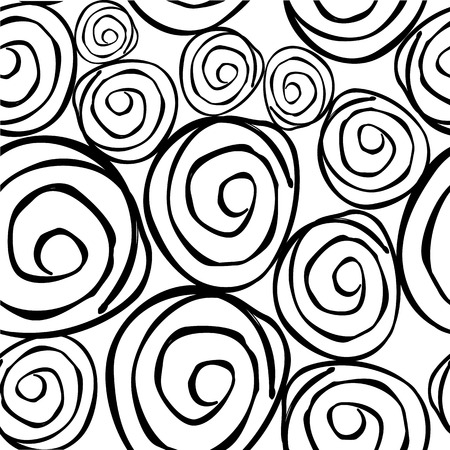 Vector black & white seamless pattern with round asymmetrical shapes.  イラスト・ベクター素材