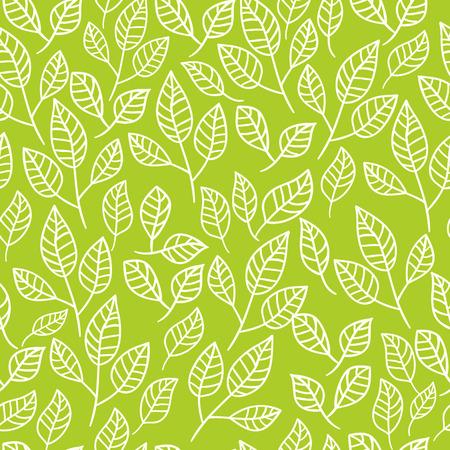 녹색 잎의 원활한 수채화 배경입니다. 찻 잎의 구성 나뭇잎. 벡터 패턴입니다.