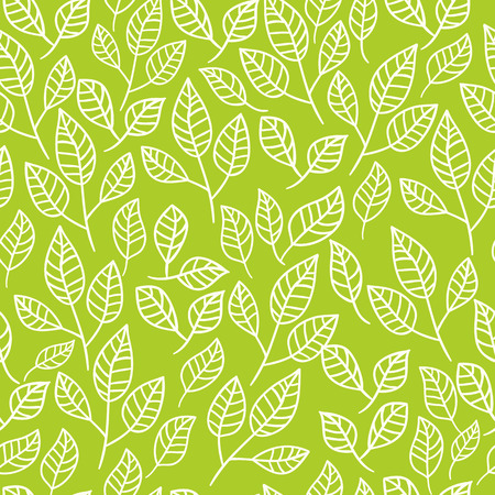 Seamless watercolor background of green leaves.Pattern composed of tea leaves. Vector pattern. Иллюстрация