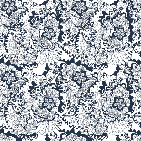 white clouds: floral pattern, Black White ornament