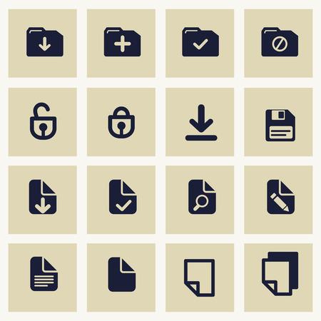Set con guardar el archivo y carga símbolos. Iconos para su diseño en cuadrados grises sobre fondo blanco. Vectores
