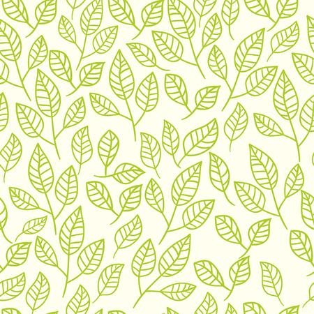 Naadloze aquarel achtergrond van groene bladeren. Patroon samengesteld van theeblaadjes. Vector patroon.