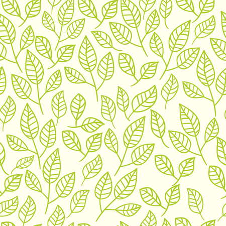 Seamless watercolor background of green leaves. Pattern composed of tea leaves. Vector pattern.