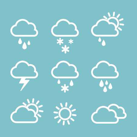 Sada ikony počasí na šedém pozadí. Počasí venku prší nebo svítí slunce. Lineární ikony. Ilustrace