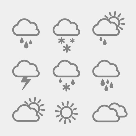 Set van weer pictogrammen op grijze achtergrond