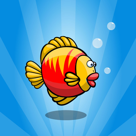 Frightened and funny red & yellow fish on blue background. Round plump fish.