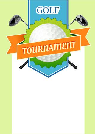 テキストのフィールドでポスター ゴルフ トーナメント。スティックとボール ゴルフ コース図