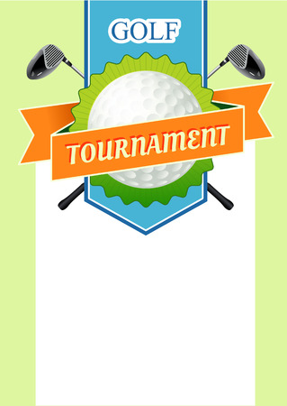 golf field: Poster golf tournament with a field for the text. Illustration with sticks and Ball Golf Course