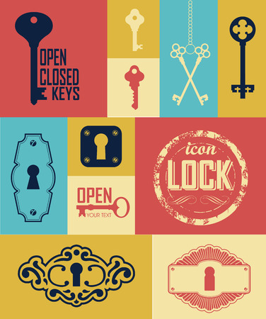 opener: Retro icons set of keys & lock. Silhouettes of key and frame. Vintage label with keys.