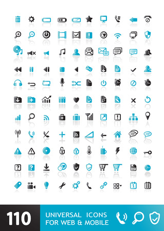 Packs icons User interface for mobile devices and web applications. Black and white illustrations. Иллюстрация