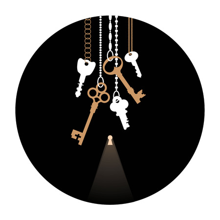 Illustrations of the keys and  keyhole in circle. Bunch of keys on chain. Black, white & beige. Mysteries and secrets. Composition in disk.