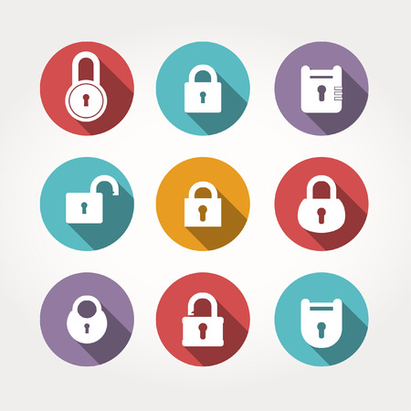 oldish: Set of lock &  keys icons. Simple silhouettes of lock for door. Illustration