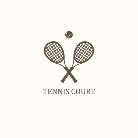 net bar: icon for tennis. Two crossed rackets & ball  on white background. Illustration