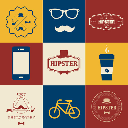 cutthroat: Set of hipster vintage Icons. Simple flat elements and symbols for your design.