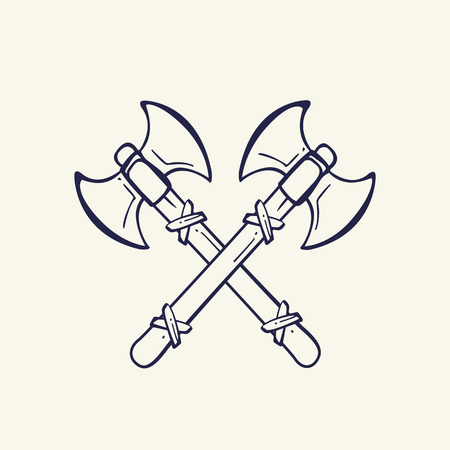 viking helmet: Viking crossed battle axes. The emblem of the Vikings. Medieval weapons. Game icons. Cartoon weapons Illustration