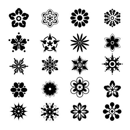 flor de loto: Conjunto de siluetas simples de flores. Iconos negros en el fondo blanco. Stencil Negro. Vectores