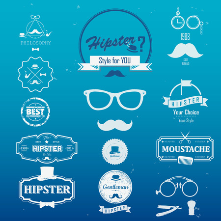cutthroat: Set of hipster vintage retro  Icons. Simple flat elements and symbols for your design.