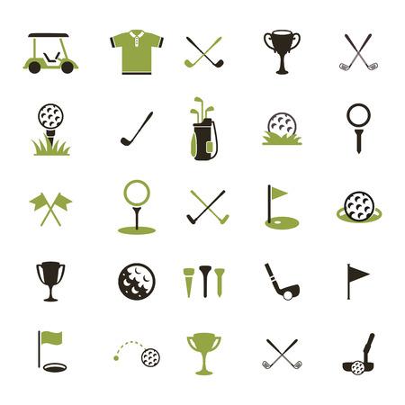 Golf Set di icone di golf. Icona di una pallina da golf e altri attributi del gioco. Archivio Fotografico - 42503855
