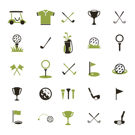 Golf  Set golf icons. Icon of a golf ball and other attributes of the game. Иллюстрация